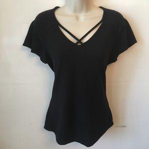 Candies, sexy Black , X cris-cross, v-neck shirt